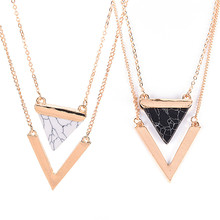 Multilayer Triangle Turquoises Necklace For Women Gold Color Chain Chocker Necklace