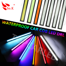 1x14cm 100% Waterproof  20W COB Chip LED Daytime Running Light LED DIY DRL Fog car lights car day running lights15% Discount