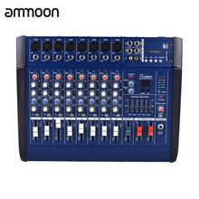 ammoon 8 Channels Powered Mixer Amplifier Digital Audio Mixing Console Amp with 48V Phantom Power USB/ SD Slot for Recording(China)