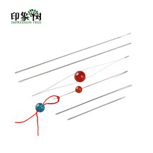 6Pcs/LOT 45/58/75/100/115/125mm Big Eye Curved Beading Needles Threading String Cord Easy Jewelry Making Tools Dull Silver 1194(China)