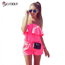 2017 Fashion Women Ruffles Jumpsuit Sexy Strapless Rompers New Candy Colour Summer High Quality Rompers For Women Free Shipping