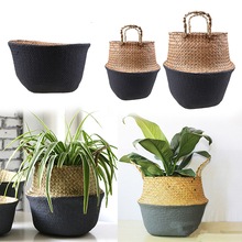 S/M/L Handmade Seagrass Rattan Basket Straw Foldable Flower Pot Vase Wicker Storage Basket Belly Laundry Hamper with Handle
