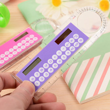 Solar Magnifier Mini Calculator Fashion Multifunction 10cm Ultra-thin Ruler Calculadora Office Supplies As A Gift Hesap Makinesi(China)