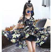 Kids Dresses For Girls Summer Chiffon Long Beach Dress Off Shoulder Floral Print Girls Bohemian Dress Girls Sundress