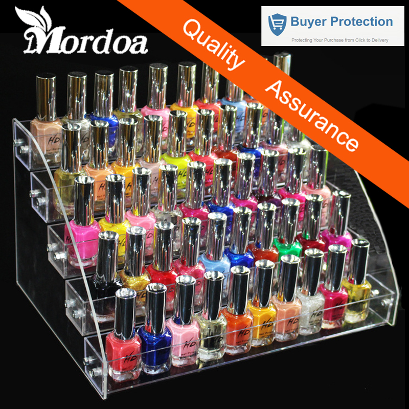 5 Tiers Cosmetic Makeup Nail Polish Varnish Display Stand Rack Holder Booking Jewelry Acrylic Packaging Organizer Storage Box(China)