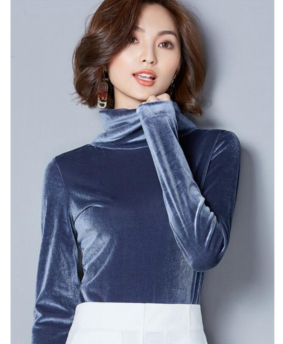 WANXIANGYUAN Women Long Sleeve Blouse 2017 Autumn Fashion Turtleneck Shirt Women Ladies Velvet Warm Blouses Shirts for Women 15
