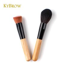 Makeup Bamboo Brush 2Pcs Pro Contour Oblique Foundation Goat Hair Large Cheek Blush Face Wood Collection Cosmetic Tools(China)