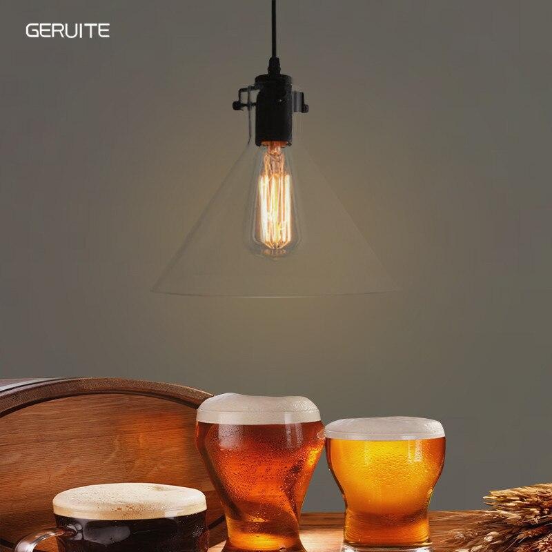 GERUITE Vintage Glass Pendant Lamps Indoor Home Industry Lighting Bar Restaurant Loft Decorative  Lighting Fixture Touw Lamp<br>