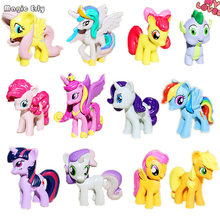 12pcs/set Twilight sparkle+Rainbow Dash horse model Action Figure toys ponies horse model For Children Christmas Gift