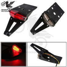 red black lens universal mudguard parts motorbike part with license plate bracket moto brake light LED motorcycle tail light(China)