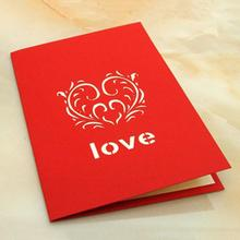 New Valentine's Day Gifts 3D Greeting Cards Postcards Handmade Paper-cut Folding Card Birthday Wedding Card
