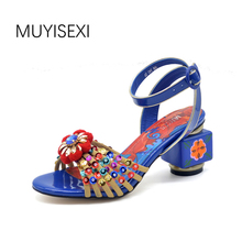 MUYISEXI Genuine Leather Women high-heel sandals Painted flowers Glitter open-toed sandals plus size 34-43 MY004A(China)