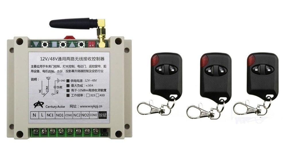 New DC12V 24V 36V 48V 10A 2CH Wireless RF Remote Control Switch 3*cat eye Transmitter+1*Receiver for Appliances Gate Garage Door<br>