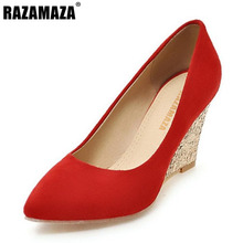 RAZAMAZA 4 Colors Size 33-43 Sexy Lady High Wedges Shoes Shine Pointed Toe Wedges Pumps Spring Shoe Women Party Club Footwears(China)