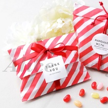 18*13cm 50pcs red stripe paper bag for party wedding Birthday candy sweet Favor Goodie Bags(China)