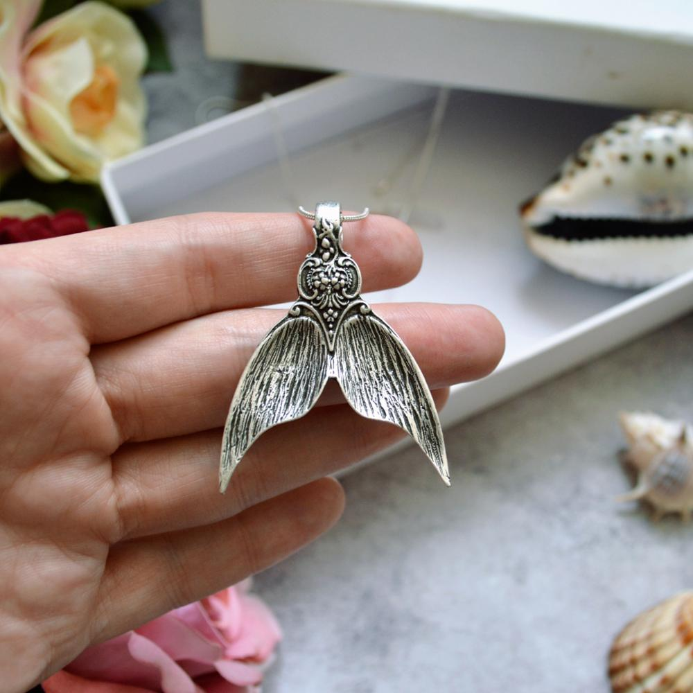 50pcs Silver Mermaid Tail Amulet Pendant Necklace Spoon Necklace Handmade Jewelry For Women Men