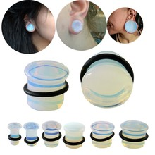 Natural Opalite Stone Ear Plugs Tunnels Hot Fashion Ear Gauges Piercing Ear Tunnel Expander Women Men Ear Stretcher Body Jewelry(China)