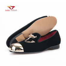 Jeder Schuh men black velvet shoes with skull buckle and gold toe British style men loafers luxurious men dress shoes men flats