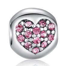 925 Silver Sparkling Love Of My Life Heart Pink CZ Floating Charms Fit Pandora Bracelet Original Accessories  WEU5283