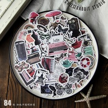 84pcs/pack Retro Decorative die cuts Stickers for DIY Scrapbooking Planner/Photo Album Card Making Craft