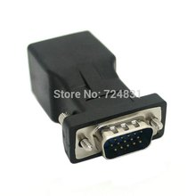 CY Extender VGA RGB HDB 15pin Male to LAN CAT5 CAT6 RJ45 Network Cable Female Adapter(China)