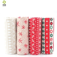 New Print Christmas Pattern Cotton Linen Fabric DIY Christmas Decoration Fabric For Patchwork Dress Sofa Curtain45X45CM M1-4-1(Hong Kong)
