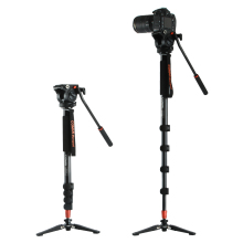 Coman KX3232 Aluminum Alloy Tripod Video Monopod with Fluid Pan Head + 3 Feet Support Unipod Holder for Canon Sony Nikon DSLR(China)