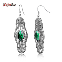 Szjinao Indian Vintage Big Earings Fashion Solid 925 Sterling Silver Handmade Jewelry Women Luxury Green Stone Crystal Earrings(China)