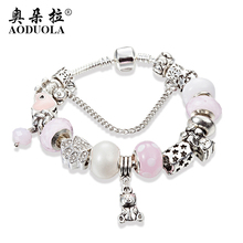 AODUOLA New Design Pink Glass Bead Teddy Bear Charm Silver Color Bracelets & Bangles For Women Jewelry Pulseira Feminina B17016