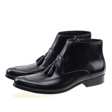 European Style Genuine Leather Men Ankle Boots (High) 저 (탑 Zipper 술 Boots) 가 겨울 편안한 Dress Shoes Black Brown(China)