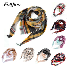 Winter Scarf For Women Blanket Scarf Unisex Acrylic Basic plaid Shawl Warm Scarf Women Pashmina Scarves soft Female foulard