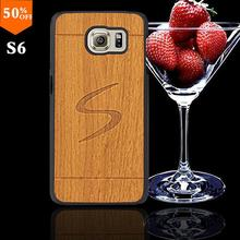 2016 wood grain wooden case for samsun samsung galaxy s6 s 6 wood skin case with hard by cover mobile phone covers free shipping