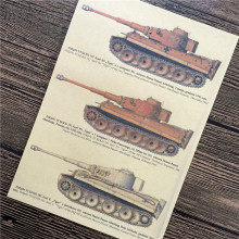 "RMK-050 vintage kraft paper ""Three tank model"" home decor wall art craft sticker painting for kids rooms 42x30 cm High quality"