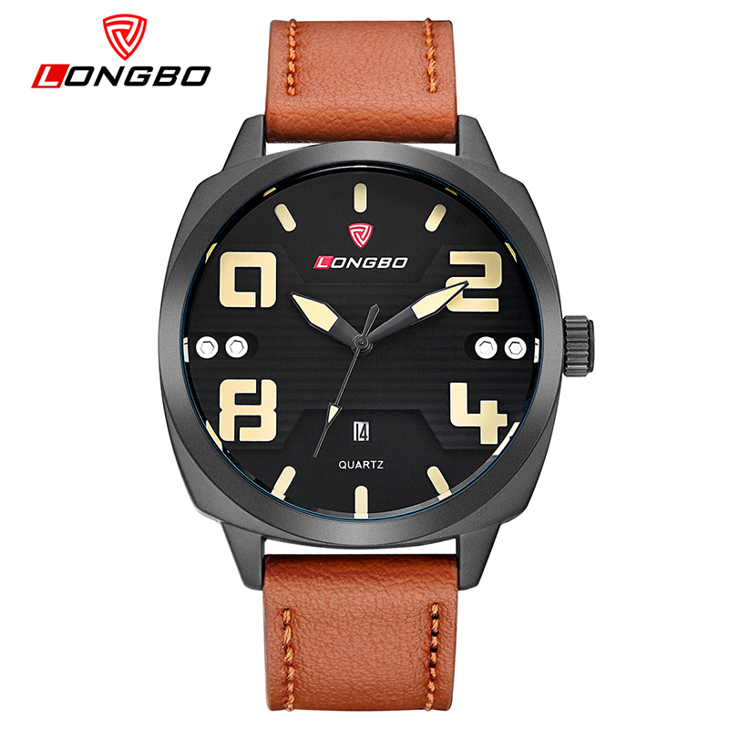 LONGBO Brand Quartz Wristwatches Special Design Military Leather Sport Watch Men Relogio Masculino Drop ship 3012<br>