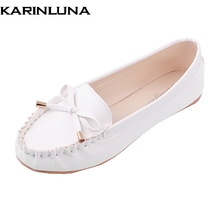 KarinLuna Women Flat Shoes With Little Cute Bowtie Slip On Cowmuscle Sole Spring Autumn Shoes White Black Pink Footwear