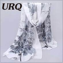 Long Chiffon Silk scarves Designer Woman Fashion New Design Peacock Flower print scarves P5A16280(China)