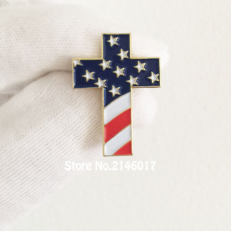 10pcs Wholesale Christian Cross Pin Badge with USA Flag American US Patriotic Religious Jewelry Enamel Lapel Pins Brooch