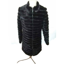 mink fur coat long in real fur for women genuine mink fur jacket zip winter warm outwear stand collar black color full sleeves(China)