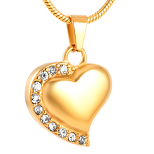 MJD8018	Stainless Steel Crystal Heart Urn Necklace Cremation Memorial Keepsake With fill kit ( gold and white)