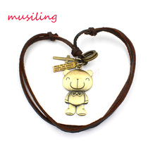 Teddy Bear Accessories Metal Pendant Amulet Adjustable Leather Necklace Punk Cowboy Decorations Gift  1pcs
