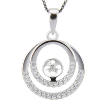 CLUCI S925 Two Zirconia Circle pendant mounting, silver charms for necklace making, pearl pendant free shipping(China)