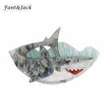 Fant&Jack original products pin Acetate Resin brooch men and women Marine shark Brooches Hats Scarf Suit Brooch Clothes Buckles(China)