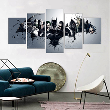 5 Pieces Oil Painting Canvas Prints Movie Stars American Heros Batman Deadpool Wall Art Pictures for Home Decoration Gift
