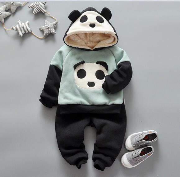 Spring baby boys clothing set kids thick fleece cotton fashion cartoon baby boys clothes outerwear hooded coat+pants 2pcs/set<br><br>Aliexpress