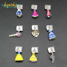 Hapiship 1Pcs 9mm Width Original Daisy Princess Angle Wing Hair Dryer Charm Fit Bracelet Stainless Steel Jewelry Making DJ20