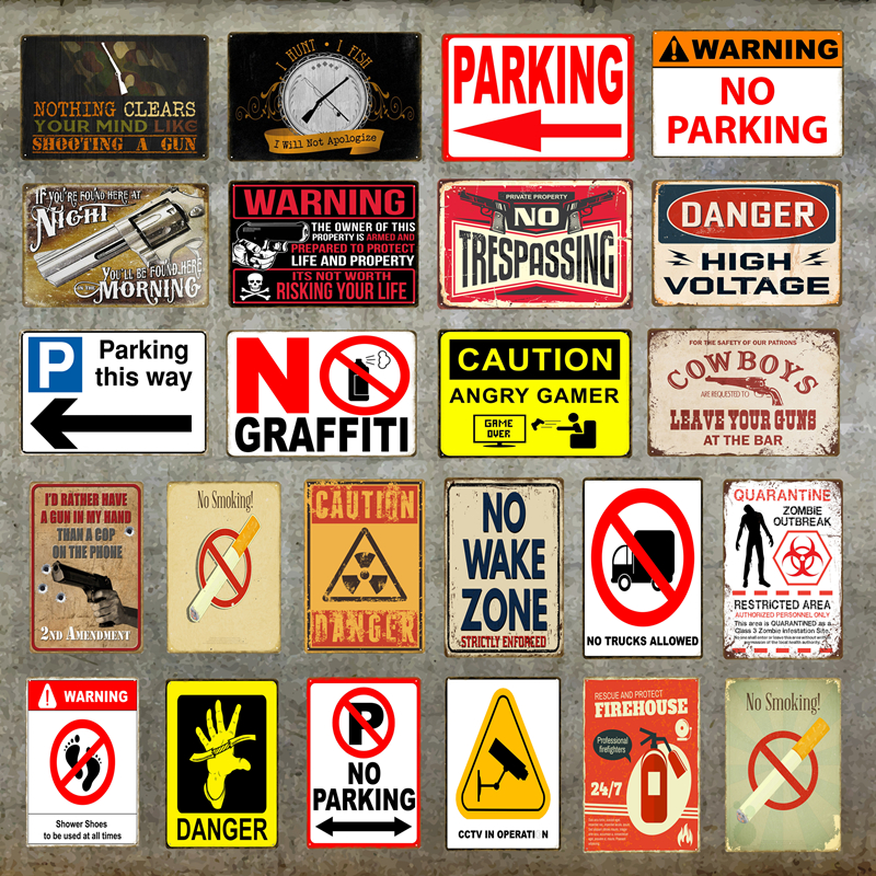 Metal Poster No Smoking Signs for Bar Resturant Wall Plaque Home