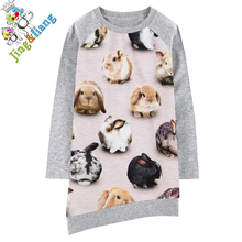 girls dress Long sleeve Girl clothing The rabbit Fashion Kids Baby Dresses bibs Print Children Dress Designer Kids baby dress(China)