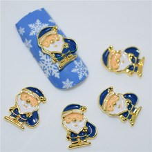 10psc New  Blue Santa Claus 3D Nail Art Decorations,Alloy Nail Charms,Nails Rhinestones  Nail Supplies #277