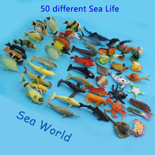50Pcs Small Size PVC 4-7cm Sea Life Model Toys Pool Fish Toy Early Education Marine Animals Figure Toys Gift For Children