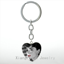 Vintage Audrey Hepburn Portrait poster heart pendant key chain ring Hollywood movie star Glamour Beauty keychain women HP180(China)